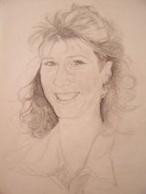 Lachen, Zeichnung, Bleistiftzeichnung, Jung