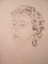 Profil, Zeichnung, Bleistiftzeichnung, Frau halbprofil