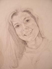 Portrait, Bleistiftzeichnung, Jung, Frau