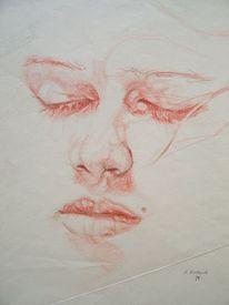 Portrait, Schlaf, Traum, Rötel