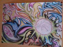 Explosion, Buntstiftzeichnung, Bunt, Psychedelisch