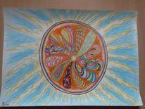 Bunt, Sonne, Grafik, Mandala