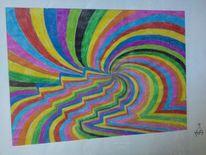 Spirale, Zyklus, Buntstiftzeichnung, Bunt