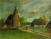 Acrylmalerei, Malerei, Dorf, Mecklenburg