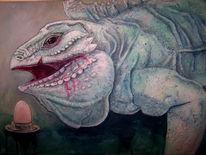 Gigant, Reptil, Leguan, Acrylmalerei