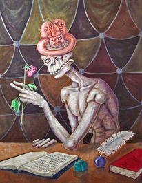 Rose, Tintenfass, Tinte, Bücher