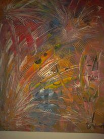 Modern, Acrylmalerei, Bunnt, Feuerwerk