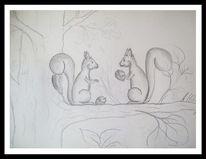 Skizze, Bleistiftzeichnung, Eichhönchen, Zeichnungen