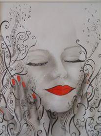 Genuss, Bleistiftzeichnung, Lächeln, Abstrakt