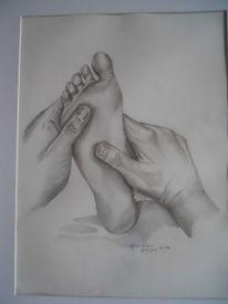 Hände, Schatten, Zeichnung, Fuß