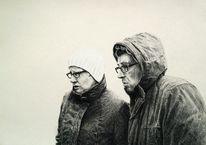 Kreide, Menschen, Portrait, Zeichnung