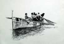 Marinemalerei, Kreide, Zeichnung, Figurativ