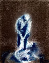 Grafik figurativ, Menschen, Kreide, Zeichnung