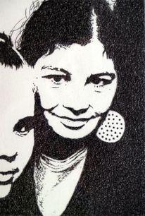 Kreide, Figurativ, Menschen, Portrait