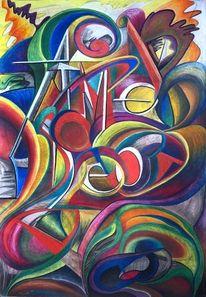 Malerei, Pompidou, Pastellmalerei, Modern