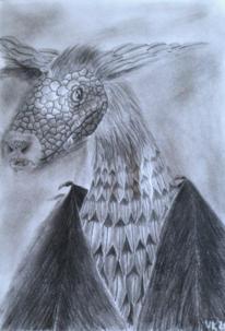 Drache, Bleistiftzeichnung, Fantasie, Zeichnungen