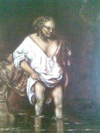Fluss, Baden, Frau, Rembrandt