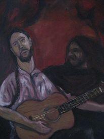 Musiker, Gitarre, Neid, Malerei