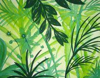 Acrylmalerei, Grün, Urwald, Malerei
