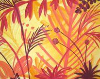 Rot, Urwald, Acrylmalerei, Malerei