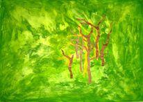 Applikation, Urwald, Struktur, Acrylmalerei