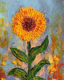 Sonnenblumen, Abstrakt, Acrylmalerei, Expressionismus