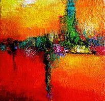 Licht, Rotes meer, Spachteltechnik, Expressionismus