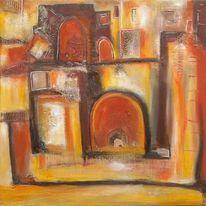 Abstrakte malerei, Erde, Siena, Informel