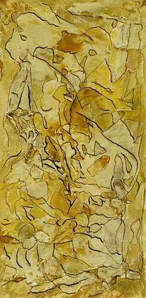 Braun, Tuschmalerei, Gelb, Spachtel
