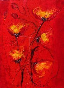 Acrylmalerei, Blüte, Blumen, Mohn