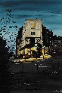 Rue, Stadt, Acryl auf leinwand, Nacht