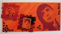 Pop art, Rot, Orangepuzzle, Malerei
