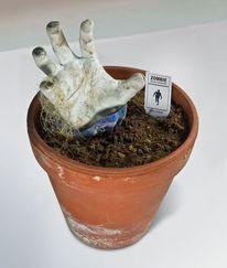 Zombie, Topf, Garten, Hand