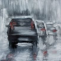 Regen, Alltag, Verkehr, Acrylmalerei