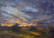 Westen, Sonnenuntergang, Unwetter, Feld