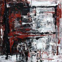 Spachteltechnik, Blutrausch, Rot, Gemälde