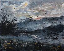Sonnenaufgang, Kalt, Acrylmalerei, Nebel