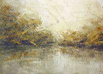 Herbst, Licht, Wald, Spiegelung