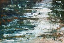 Gemälde, Spachteltechnik, Ölmalerei, Wasser