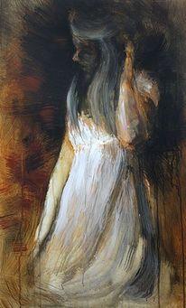 Licht, Figur, Weisses kleid, Malerei