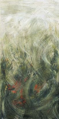 Gemälde, Abstrakt, Mohn, Gras