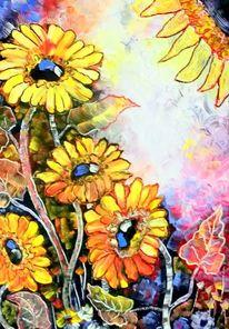 Expressionismus, Sonnenblumen, Malerei, Pflanzen