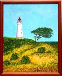 Natur, Landschaft, Hiddensee leuchtturm, Malerei