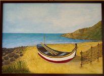 Strand, Meer, Fischerboot, Malerei