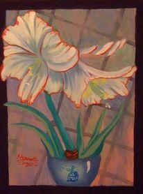 Amaryllis, Fenster, Blumen, Malerei