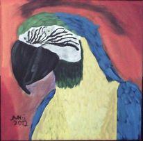 Blau, Papagei, Ölmalerei, Malerei