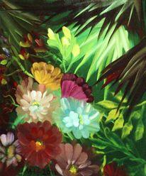 Urwald, Blumen, Landschaft, Malerei
