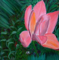 Blumen, Magnolien, Malerei, Pflanzen