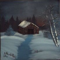 Landschaft, Winter, Sonnenuntergang, Baum