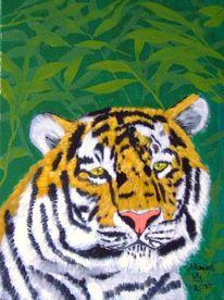 Katze, Wild, Tiger, Malerei